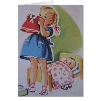 Fille vintage d'enfant en bas âge et bébé - carte