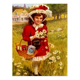 Fille vintage d'épicerie de publicité de carte