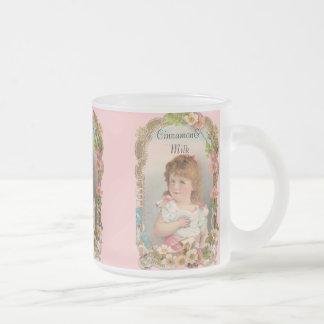 Fille vintage douce mug en verre givré