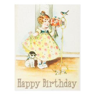 Fille vintage et chat de joyeux anniversaire cartes postales