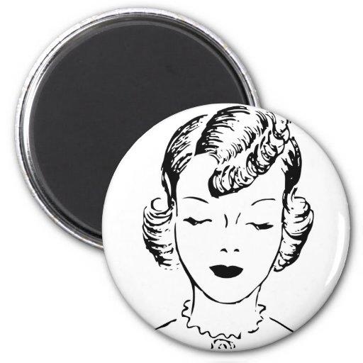Fille vintage magnet rond 8 cm