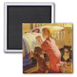 Fille vintage priant avec le chien ; Prières heure Magnets