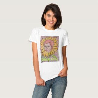 Fille vivante organique de tournesol t-shirts