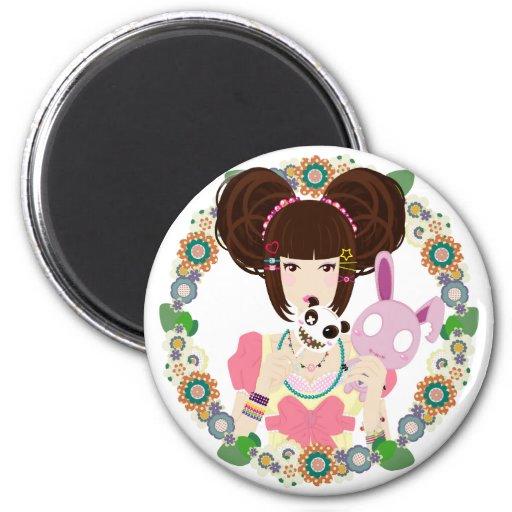 Fille Yuriko de Harajuku - encadré Aimants Pour Réfrigérateur