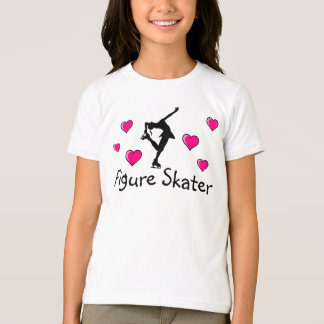 Filles, chemise de patineur artistique et coeurs t-shirt