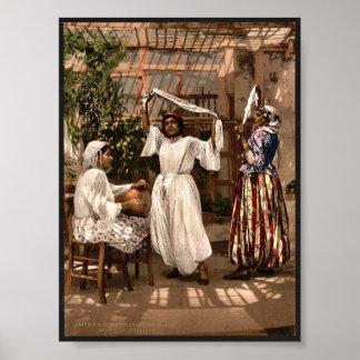 Filles de danse arabes, photo de cru d'Alger, Posters