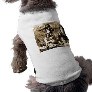 Filles de danse polynésienne vintages du t-shirt pour chien