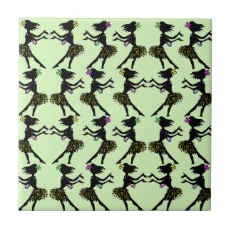 Filles de danse polynésienne vintages tropicales petit carreau carré