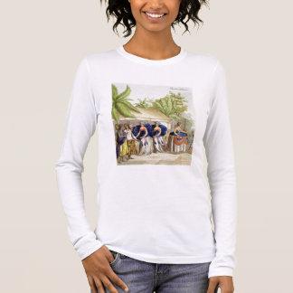 Filles de danse polynésiennes, gravées par A. T-shirt À Manches Longues