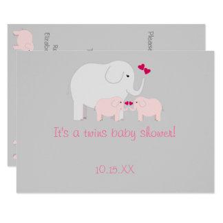 Filles de jumeau de baby shower d'éléphant carton d'invitation  11,43 cm x 15,87 cm