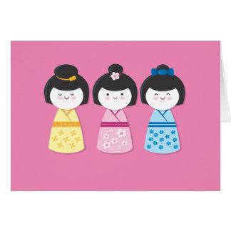 Filles de Kokeshi Cartes De Vœux