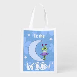 Filles de l'espace - sac réutilisable de lune et sacs d'épicerie réutilisables