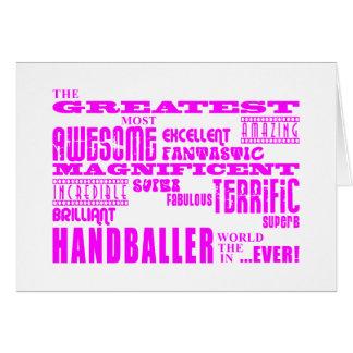 Filles Handballers : Plus grand Handballer rose Cartes De Vœux