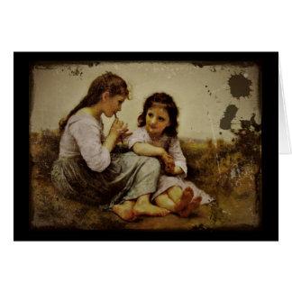 Filles irlandaises de sifflement de penny carte de vœux