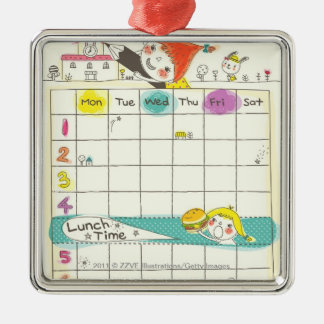 Filles jouant par l'école et l'horaire ornement carré argenté