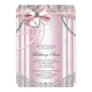 Filles roses et communion de perle grise première carton d'invitation  11,43 cm x 15,87 cm