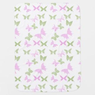 Filles vertes roses de papillons couverture de bébé