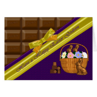 Filleul heureux de Pâques, carte de chocolat