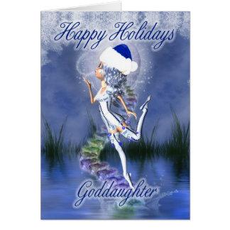 Filleule - bonnes fêtes - carte de Noël - franc