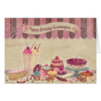 Filleule - carte d'anniversaire - gâteaux et