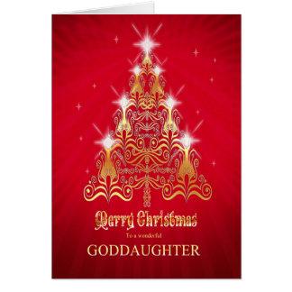 Filleule, carte de Noël d'arbre de Noël