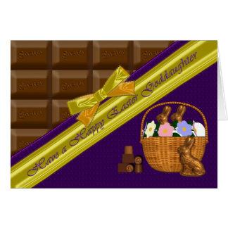 Filleule heureuse de Pâques, carte de chocolat