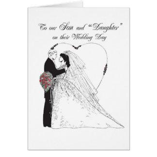 """Fils 2851 et """"fille"""" le jour du mariage carte de vœux"""