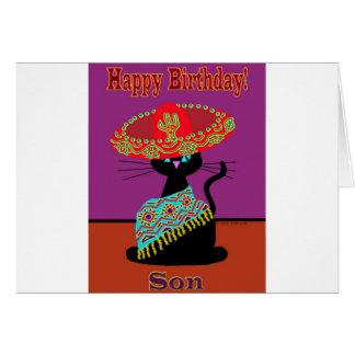 Fils de chat de sombrero carte de vœux