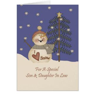 Fils et belle-fille mignons de Noël de bonhomme de Carte De Vœux