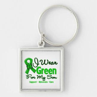 Fils - ruban vert de conscience porte-clé carré argenté