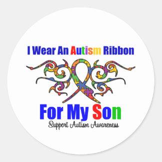 Fils tribal de ruban d'autisme autocollants ronds