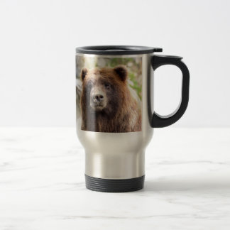 Fin de portrait d'ours gris mug de voyage