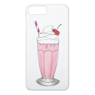Fin gourmet de milkshake de rose de fraise de coque iPhone 7 plus