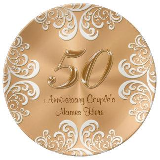 Fine couche d'or personnalisée d'anniversaire de assiette en porcelaine