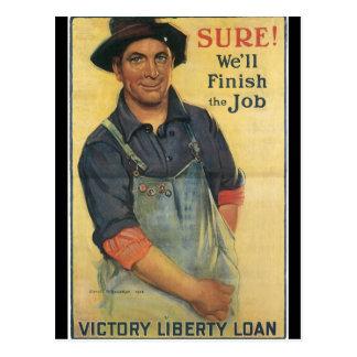Finissez la deuxième guerre mondiale du travail carte postale