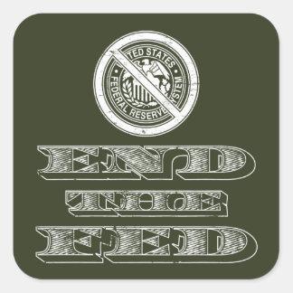 Finissez le libertaire de Fed Federal Reserve Stickers Carrés