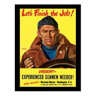 Finissons les marins expérimentés par travail carte postale