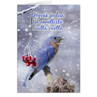 Finlandais - carte de voeux bleue de Noël d'oiseau