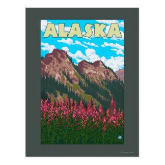 Fireweed avec l'affiche vintage de voyage de carte postale