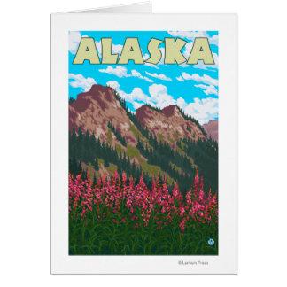 Fireweed avec l'affiche vintage de voyage de cartes