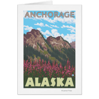 Fireweed et montagnes - Anchorage, Alaska Carte De Vœux