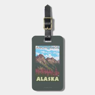 Fireweed et montagnes - Anchorage, Alaska Étiquette Pour Bagages