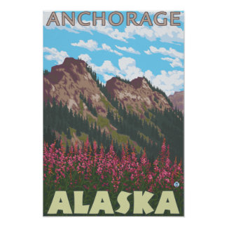 Fireweed et montagnes - Anchorage, Alaska Posters