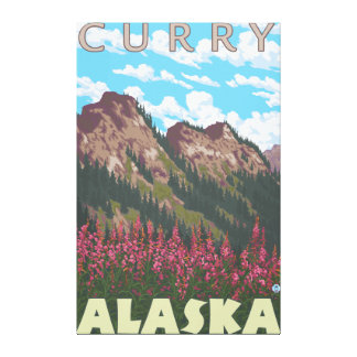 Fireweed et montagnes - cari, Alaska Toiles