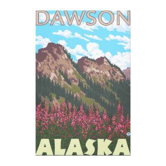 Fireweed et montagnes - Dawson, Alaska Toiles