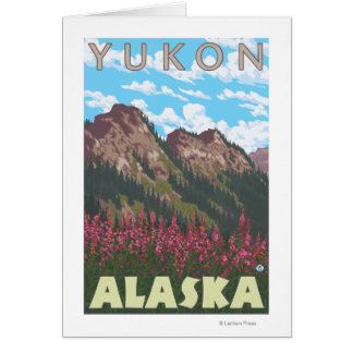 Fireweed et montagnes - le Yukon, Alaska Carte De Vœux