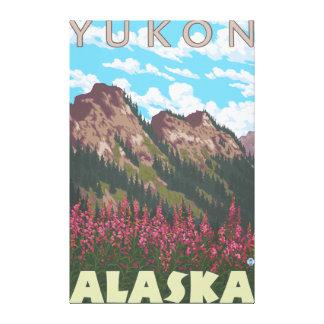 Fireweed et montagnes - le Yukon, Alaska Toiles