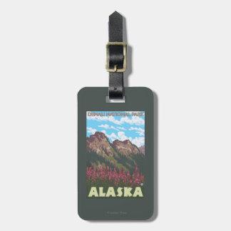 Fireweed et montagnes - parc national de Denali, Étiquette Pour Bagages