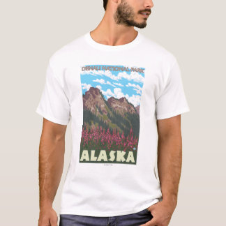 Fireweed et montagnes - parc national de Denali, T-shirt