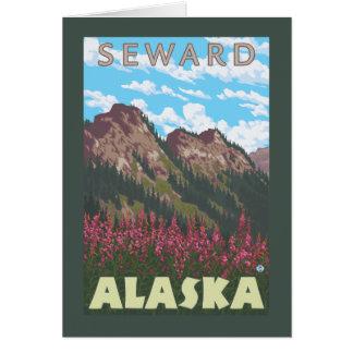 Fireweed et montagnes - Seward, Alaska Carte De Vœux